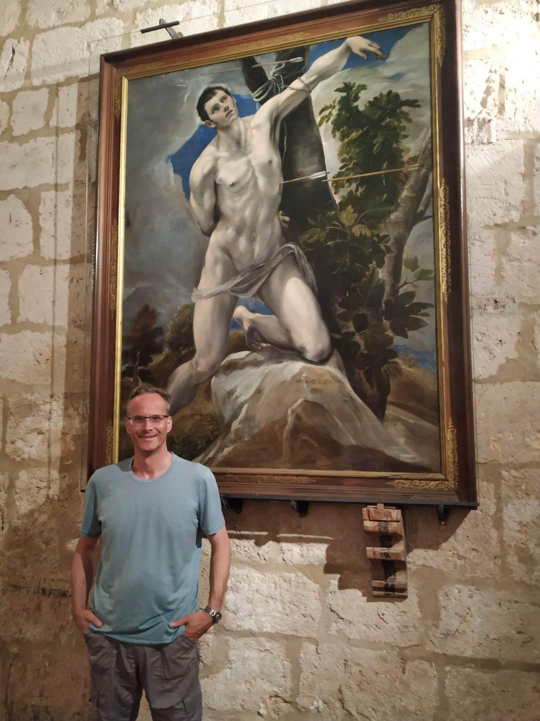 Jens posando ante el cuadro de El Greco